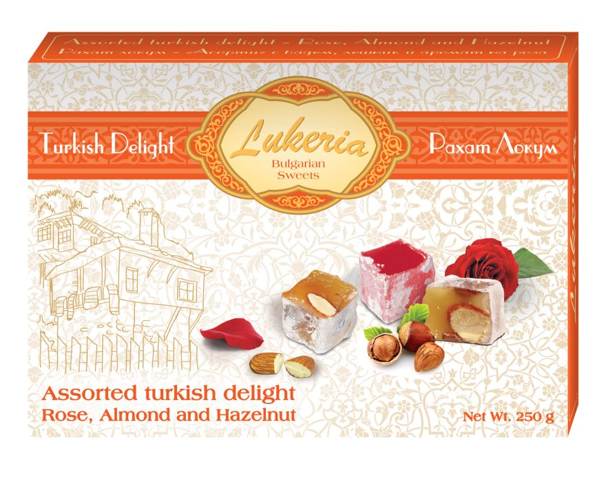Assorted turkish delight - Rose, Almond  and Hazelnut