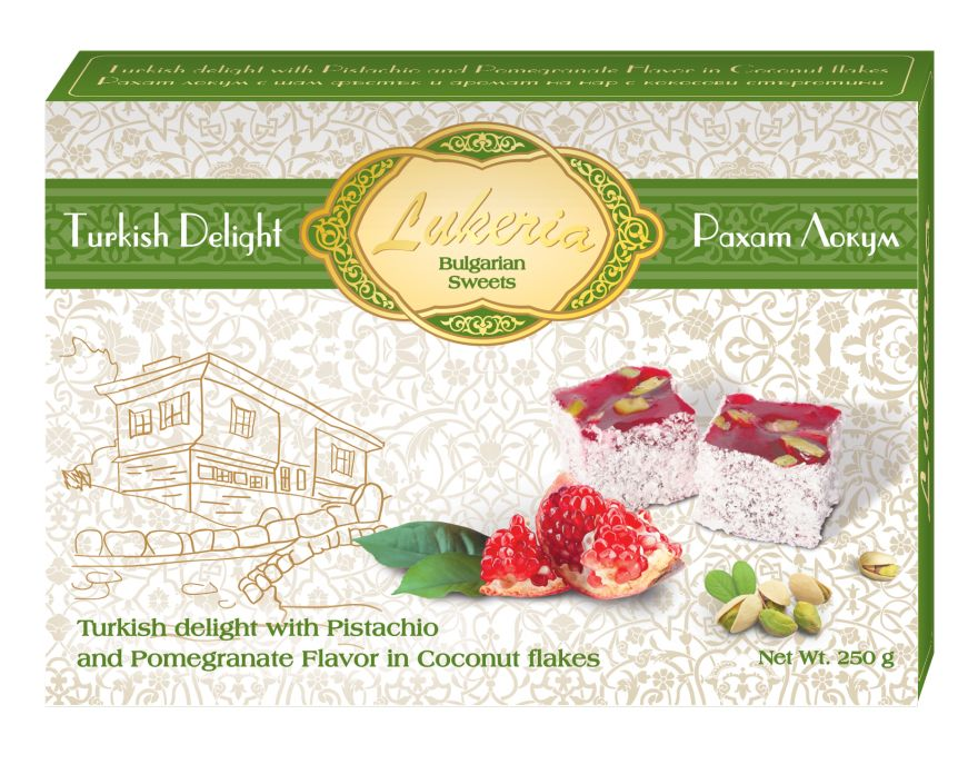 Assorted Turkish delight with Pistachio and Pomegranate Flavor in Coconut flakes