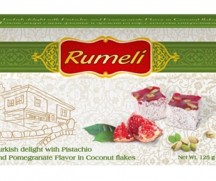 Turkish delight with Pistachio and Pomegranate Flavor in Coconut flakes